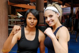 Trish Stratus and her opponent prepare for their Muay Thai match in Bangkok, Thailand on STRATUSPHERE.