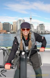 Trish Stratus sails away on an America's Cup sail boat in the Auckland Harbour in New Zealand on STRATUSPHERE.