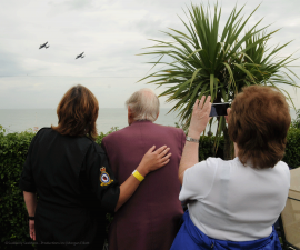 WWII Spitfire Pilot Maurice Macey joins BBMF Yvonne Masters to watch the two Lancasters flying at the Eastbourne Airshow.