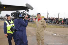 Pilot Leon Evans updating us on the historic landing in the UK.